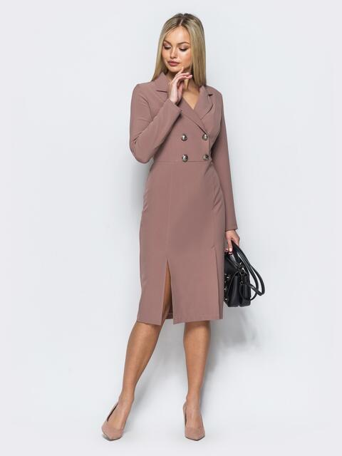 Платье-пиджак пудрового цвета с потайной молнией на спинке - 17586, фото 1 – интернет-магазин Dressa