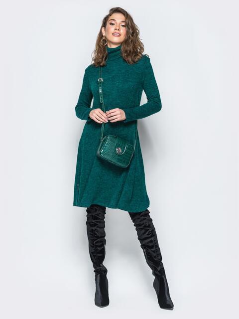 Платье свободного кроя из ангоры зелёное - 17254, фото 1 – интернет-магазин Dressa