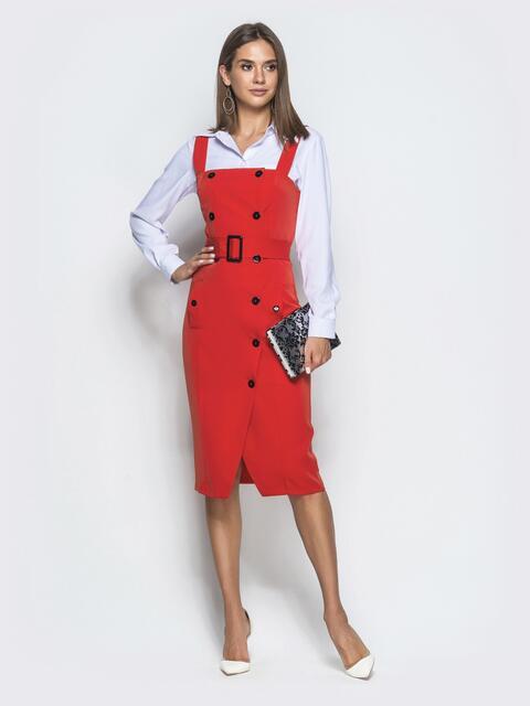 Приталенный сарафан красного цвета на пуговицах - 40034, фото 1 – интернет-магазин Dressa