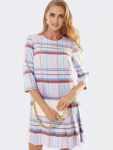 Пудровое платье в клетку со складками по низу 53564, фото 1
