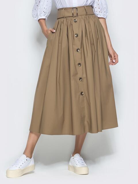 Расклешенная юбка-миди с завышенной талией хаки - 40126, фото 1 – интернет-магазин Dressa