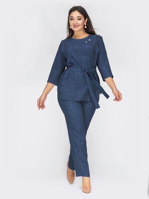 Темно-синий комплект большого размера из кофты и брюк - 50046, фото 1 – интернет-магазин Dressa
