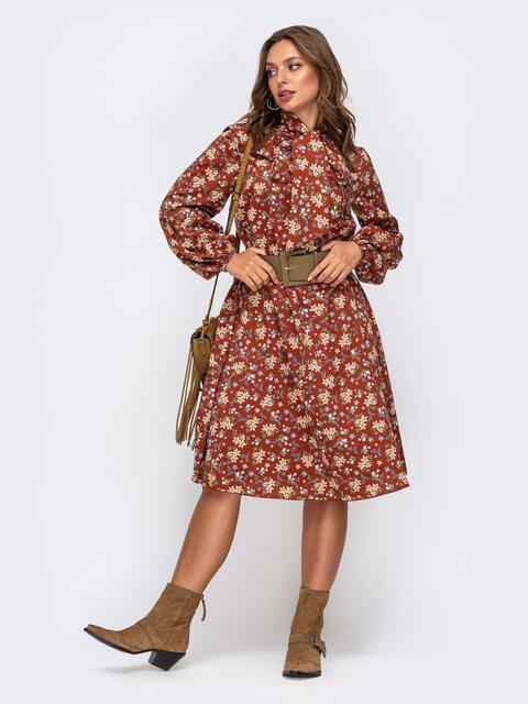Терракотовое платье в цветочный принт с воротником-аскот 50471, фото 1