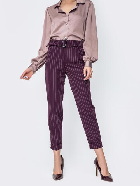 Зауженные брюки в полоску бордовые - 45030, фото 1 – интернет-магазин Dressa
