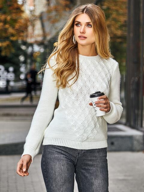 Ажурный свитер из шерсти с акрилом молочного цвета - 42329, фото 1 – интернет-магазин Dressa