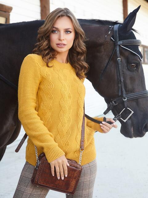 Ажурный свитер с резинкой на манжетах горчичный - 41174, фото 1 – интернет-магазин Dressa