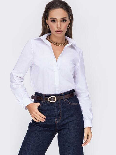 Базовая рубашка с супатной застёжкой белая 52630, фото 1