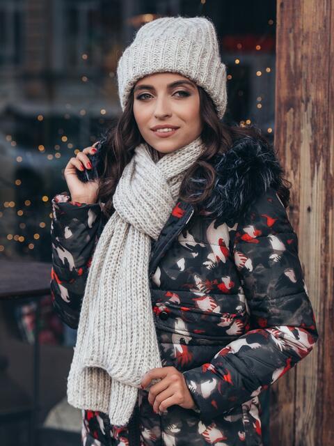 Бежевый комплект с люрексом из шапки и шарфа - 40347, фото 1 – интернет-магазин Dressa
