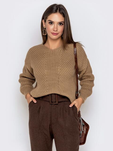 Бежевый свитер крупной вязки - 41149, фото 1 – интернет-магазин Dressa
