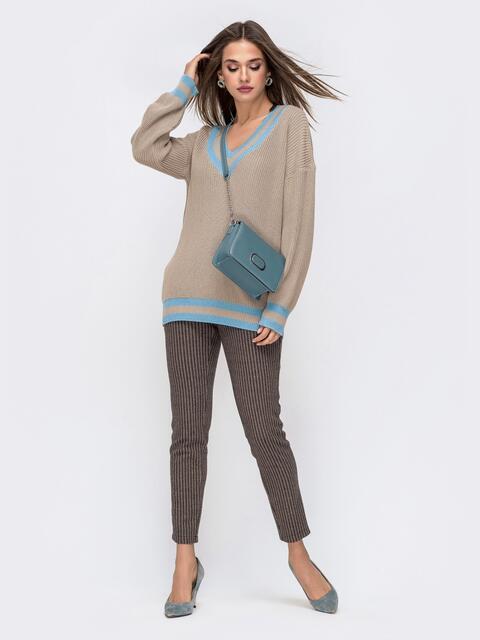 Бежевый свитер свободного кроя с контрастными вставками 41577, фото 1