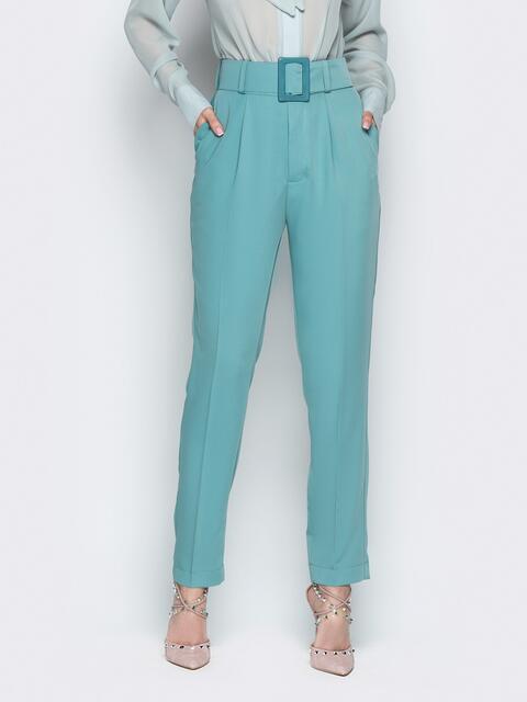 Бирюзовые брюки с высокой посадкой и широким поясом - 21266, фото 1 – интернет-магазин Dressa