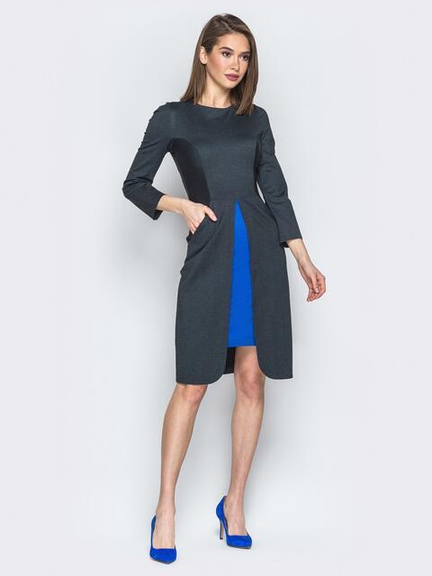 Черное платье с контрастной вставкой - 19638, фото 1 – интернет-магазин Dressa