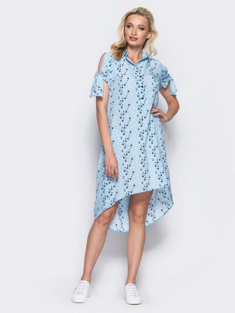 Голубое платье-рубашка с рукавами на завязках - 11662, фото 1 – интернет-магазин Dressa