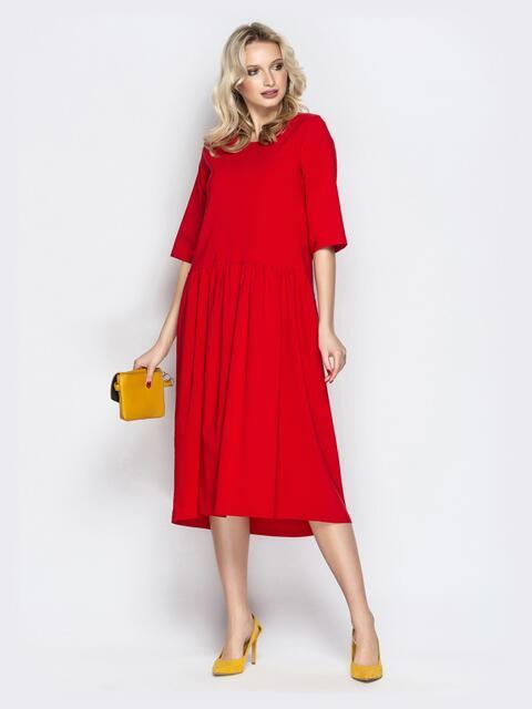 Красное платье oversize со складками на юбке - 20657, фото 1 – интернет-магазин Dressa