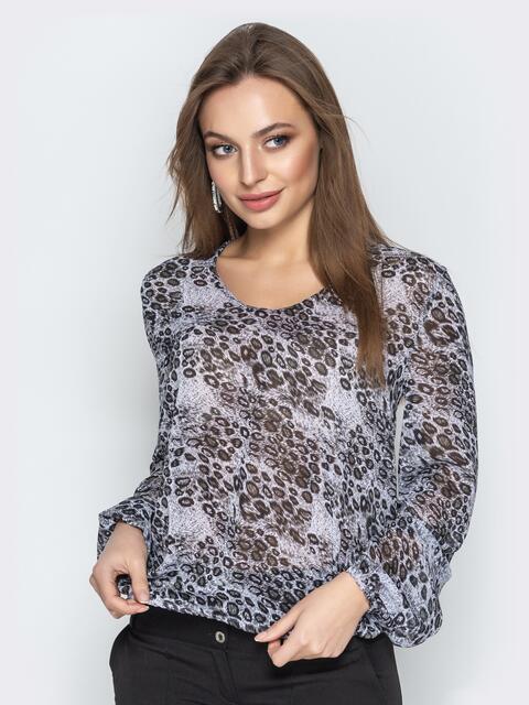 Леопардовая блузка с круглым вырезом серая - 20817, фото 1 – интернет-магазин Dressa