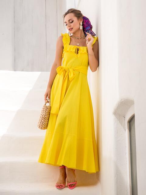Льняное платье-макси с оборкой по лифу желтое - 39219, фото 1 – интернет-магазин Dressa