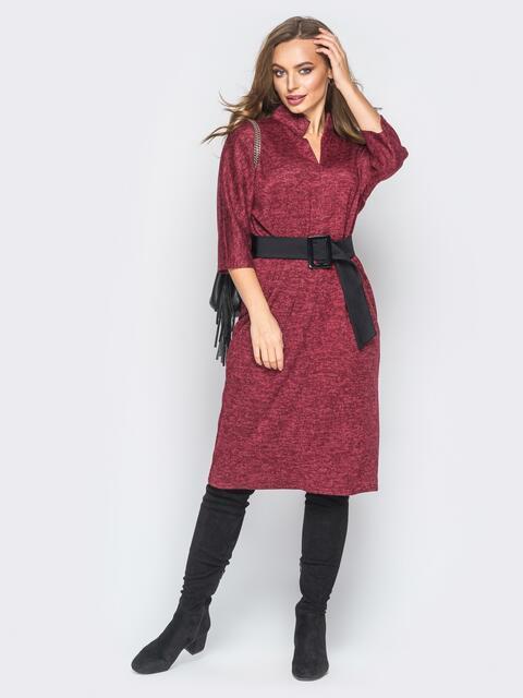 Платье бордового цвета из ангоры с поясом - 18342, фото 1 – интернет-магазин Dressa