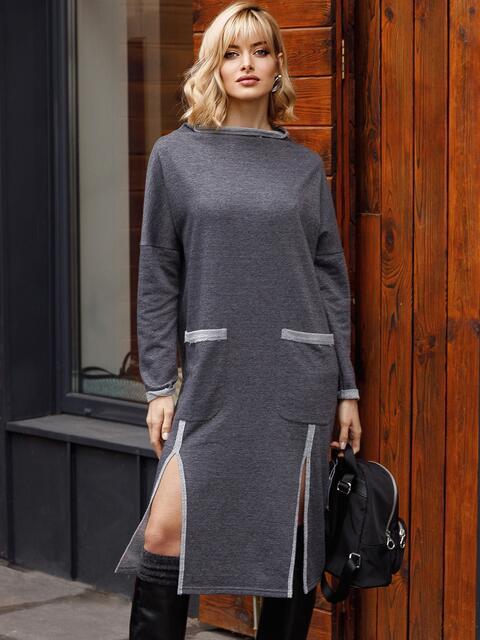 Платье графитового цвета с разрезами спереди 52629, фото 1