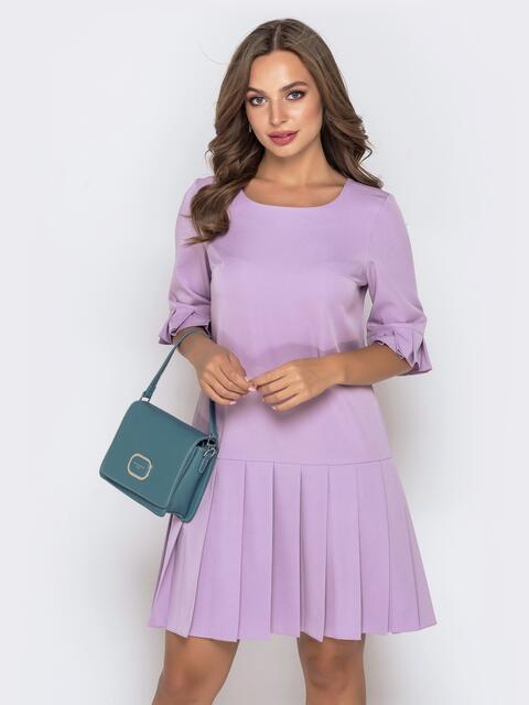 Приталенное платье с юбкой-плиссе сиреневое - 40145, фото 1 – интернет-магазин Dressa