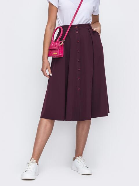 Расклешенная юбка бордового цвета со шлевками 49448, фото 1