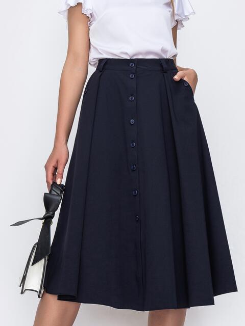 Расклешенная юбка тёмно-синего цвета со шлевками 49449, фото 1