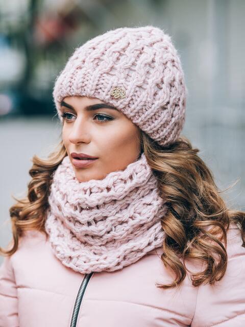 Розовые шапка на флисе и шарф - 14910, фото 2 – интернет-магазин Dressa
