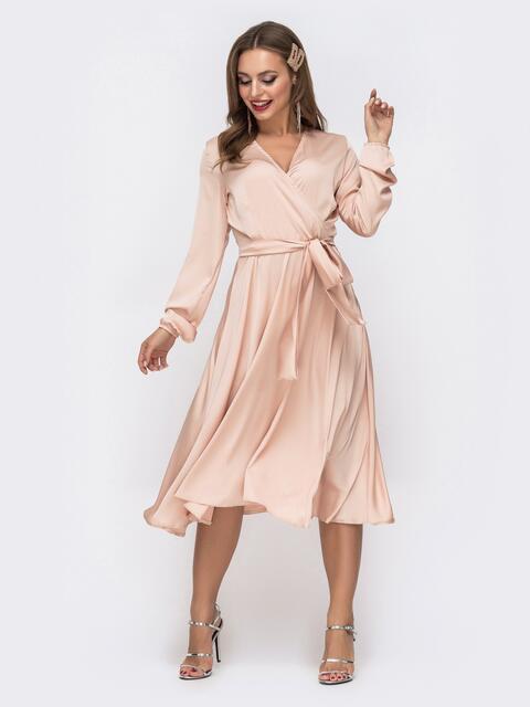 Шелковое платье цвета пудра с поясом 42655, фото 1