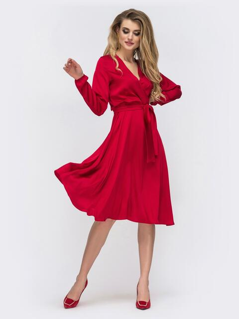 Шелковое платье красного цвета с поясом 42657, фото 1