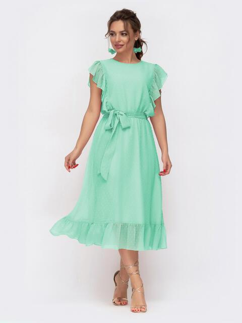 Шифоновое платье с расклешенной юбкой зелёное 54186, фото 1