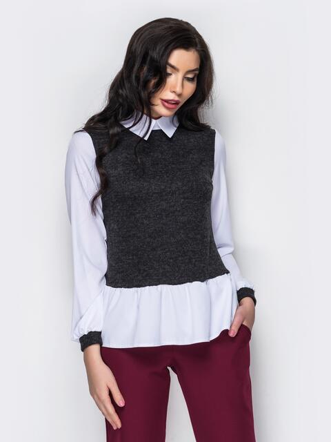 Стильная блузка из двух видов ткани белая - 12335, фото 2 – интернет-магазин Dressa