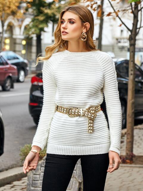 Свитер из шерсти с акрилом и жемчужинами на рукавах белый - 42332, фото 1 – интернет-магазин Dressa