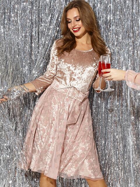 Велюровое платье с расклешенной юбкой пудра 42652, фото 1