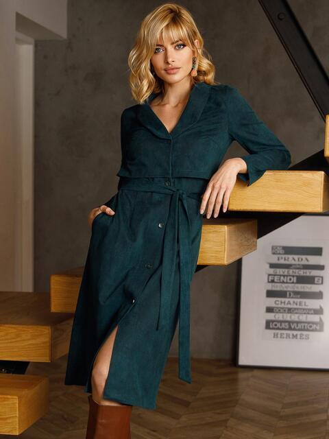 Зеленое платье из замши на пуговицах 52636, фото 1