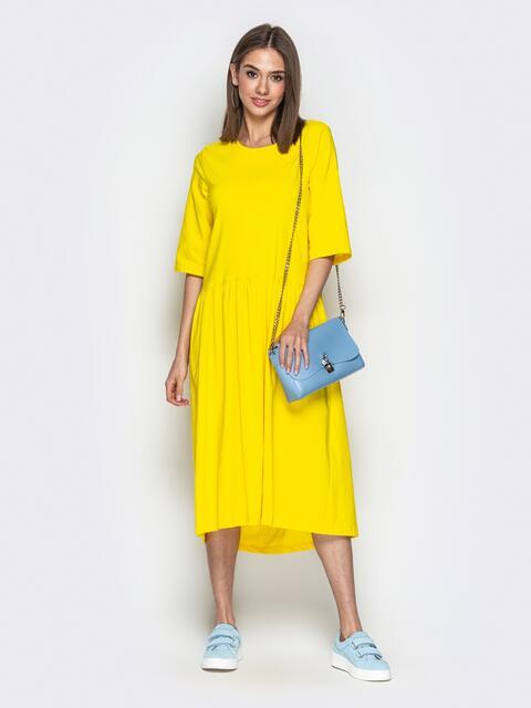 05c8967dbb6d33c Жёлтое платье oversize со складками на юбке - 20656, фото 1 –  интернет-магазин