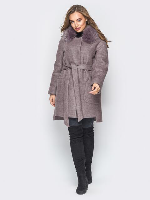 Зимнее пальто с удлиненной спинкой и мехом пудровое - 18317, фото 1 – интернет-магазин Dressa