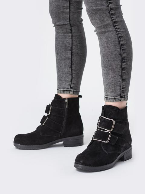 Зимние ботинки из натуральной замши с пряжками чёрные - 42574, фото 1 – интернет-магазин Dressa
