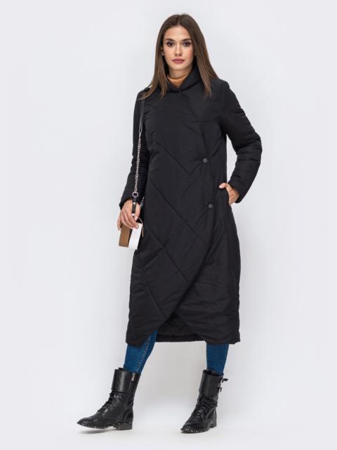 Демисезонная куртка чёрного цвета на кнопках 41705, фото 1