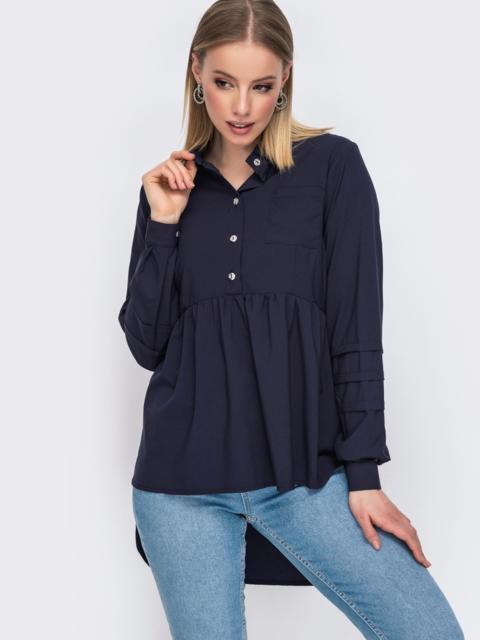Блузка тёмно-синего цвета с удлиненной спинкой 45646, фото 1