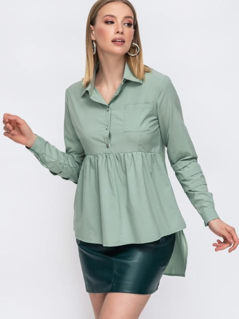 Блузка зелёного цвета с удлиненной спинкой 45648, фото 1