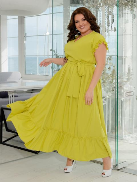 Длинное платье батал с расклешенной юбкой желтое 47382, фото 1
