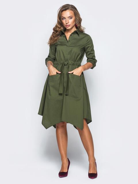 Платье-рубашка цвета хаки с кулиской на талии - 15697, фото 1 – интернет-магазин Dressa