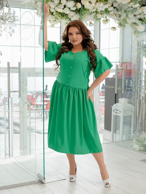 Приталенное платье большого размера зеленое 47384, фото 1