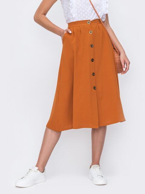 Расклешенная юбка-миди на пуговицах терракотовая 49427, фото 1