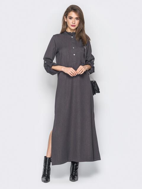 Серое платье-макси со шлёвками на рукавах - 18732, фото 1 – интернет-магазин Dressa