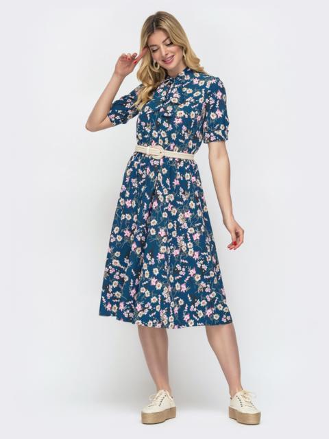 Синее платье с резинкой в поясе и с воротником «аскот» 48534, фото 1