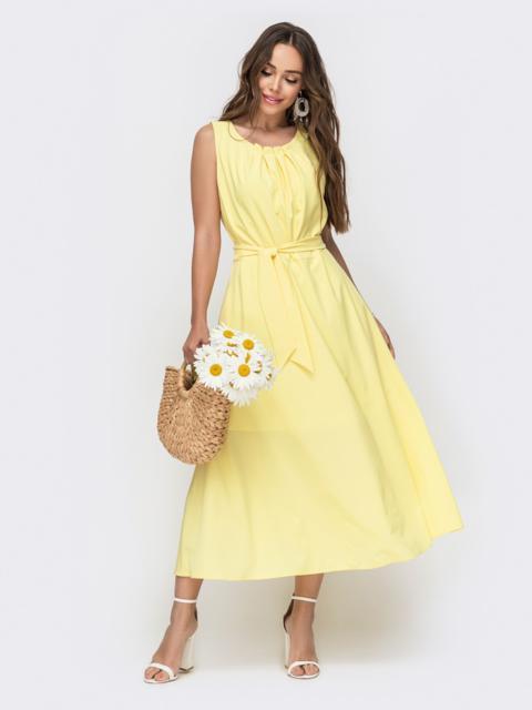 Желтое платье с расклешенной юбкой - 49152, фото 1 – интернет-магазин Dressa