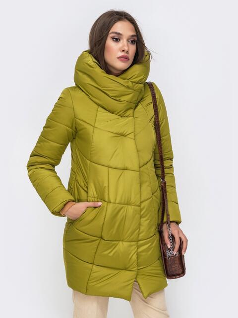 Зимняя куртка с объемным капюшоном оливковая - 41713, фото 1 – интернет-магазин Dressa