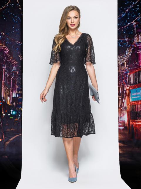 Ажурное платье с подкладкой и воланом по низу черное - 18229, фото 1 – интернет-магазин Dressa