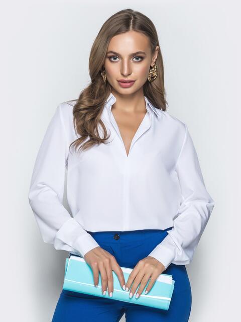 Белая блузка из софта с V-вырезом - 40091, фото 1 – интернет-магазин Dressa