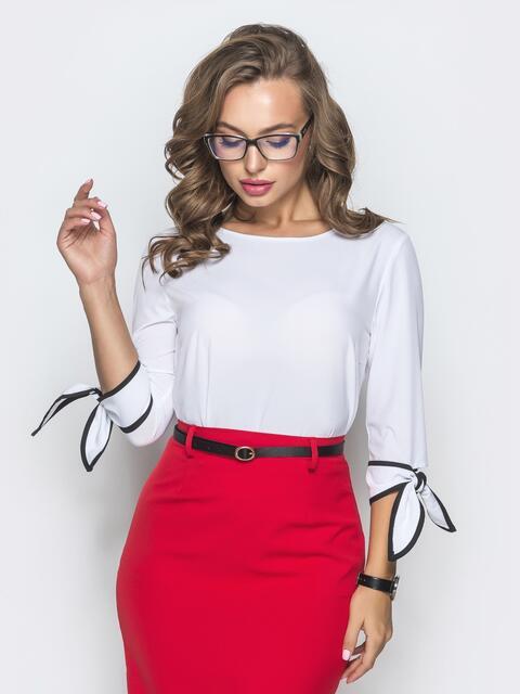 Блузка белого цвета с завязками на манжетах - 39869, фото 1 – интернет-магазин Dressa